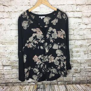 DR2 black floral blouse
